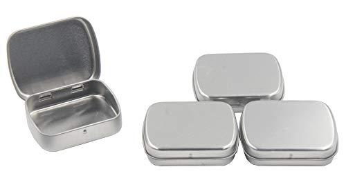 Floranea, 4 scatole di latta con coperchio in metallo, rettangolari portatili e vuote, con porta USB, per gioielli, pillole, caramelle, clip in gomma, per casa e ufficio Silver - 8 pcs