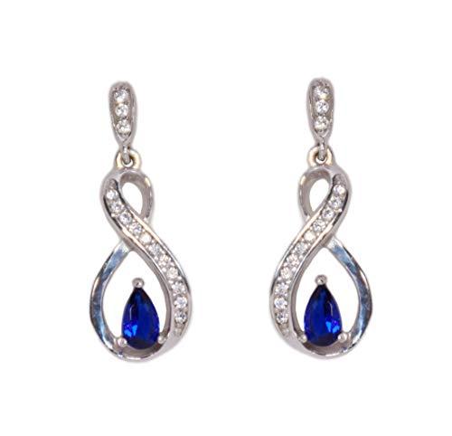 Pendientes «Indy» de plata de ley 925 y circonita azul efecto zafiro en forma de 8 o infinito, ideales para regalar en Navidad, San Valentín, cumpleaños, día de la madre...