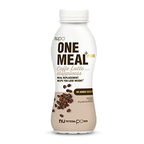 NUPO One Meal + Prime Caffe Latte Happiness – Diätdrink zum Abnehmen I Klinisch geprüfter Mahlzeitersatz für effiziente Gewichtsabnahme & -kontrolle I 12 x 330ml I ca. 200 kcal I Ohne Zuckerzusatz