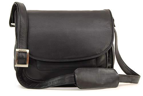 Visconti - Leder - Damenhandtaschen/Satteltasche/Handtasche/Umhängetaschen - mit Überschlag - ATLANTIC - (2195) - Schwarz