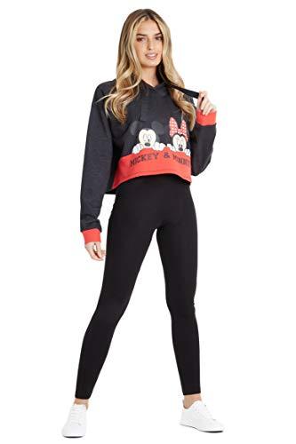 Disney Sudadera Mujer, Sudadera Crop Top con Minnie Mouse y Mickey Mouse, Sudaderas Mujer con Capucha Cortas, Regalos para Mujer y Adolescente XS-XXL (Negra, M)