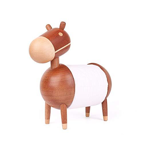 Fácil de ajustar Madera maciza Dibujos animados creativos Pequeños adornos de burro Papel higiénico Rollo de papel Toallero Hogar Sala de estar Cocina Restaurante Regalo de artesanía de madera Hermoso