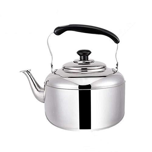 Théière Cuisinière Bouilloire for gaz, Grande capacité Whistling Kettle Eau Chauffe-Eau en Acier Inoxydable Chaudière for Cuisinière à gaz Cuisinière à Induction (Color : Silver, Size : 7L)