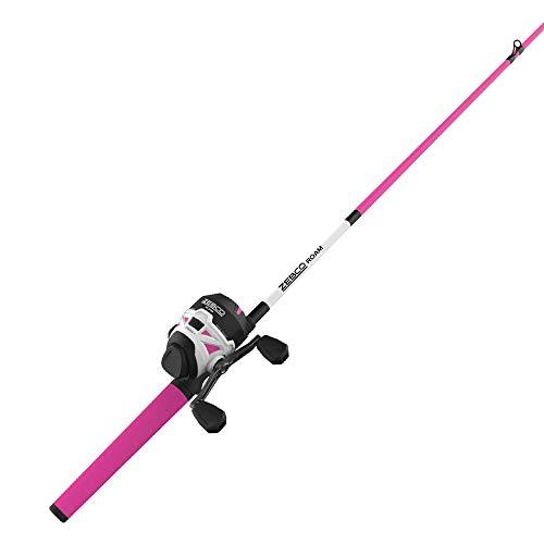 Zebco Roam Pink Spincast Reel and 2-Piece Fishing Rod Combo, ComfortGrip Rod Handle, Instant Anti-Reverse Fishing Reel, Size 30