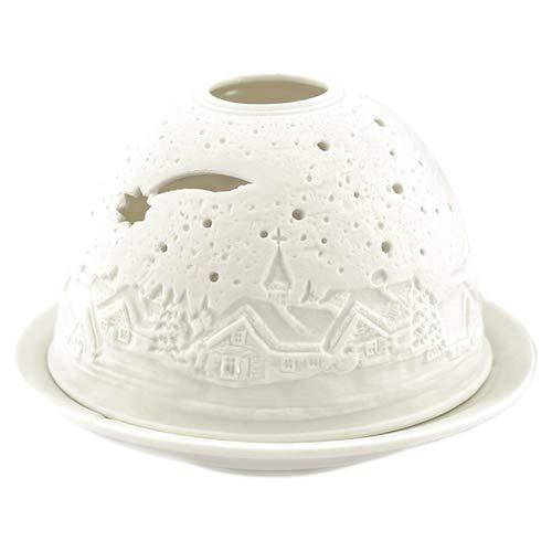 Porzellan-Teelicht-Windlicht, Starlight Nr.228, Sternschnuppe (unterbrochen), Lithophanie weiß