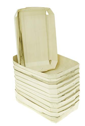 Lashuma Cestas decorativas en juego de 10 cestas, cestas de regalo rectangulares, cestas de mimbre beige 20 x 14 cm