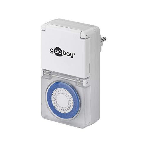 Goobay 73289 Zeitschaltuhr für die Steckdose Spritzwassergeschützt IP44, Weiß, 1 Stück
