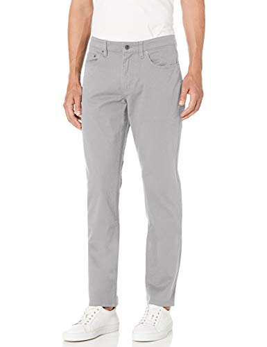 Amazon Essentials Men's Slim-Fit 5-Pocket Stretch Twill Pant, Light Grey, 36W x 33L