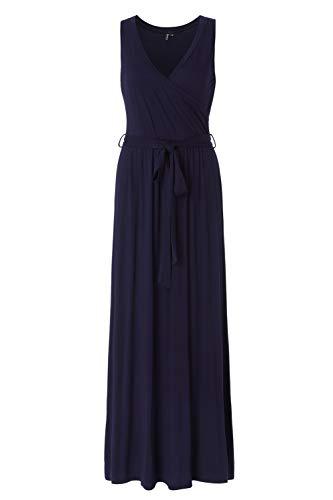Zattcas Womens Printed Faux Wrap Bodice Sleeveless Crossover Maxi Dress,Solid Navy,Medium