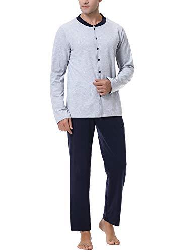 iClosam Herren Schlafanzug lang, Zweiteiliger Pyjama Sets Langarm Baumwolle Nachtwäsche mit Knopfleiste Winter Warm Langarm