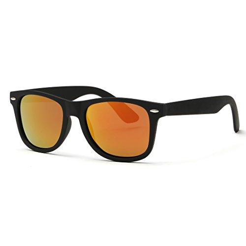 kimorn Polarizzate Occhiali Da Sole Classico Unisex Corno In Rotazione Anni Retro AE0300 (Nero&Rosso, 52)