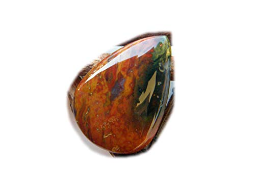 The Best Jewelley Bloodstone Cabochon, 22Ct Natural Gemstone, Pear Shape Cabochon for Jewelry Making (28x20x5mm) LA-6950