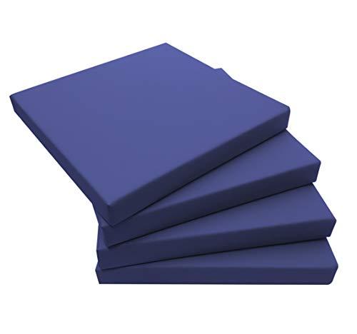 ECOPELLE Blu Cuscino da Giardino per Esterni mis.50X50X sp. 5 cm Set di pz.4 Universale per Poltrona,Salotto,SALOTTINO,Divano,DIVANETTO Rattan/MIDOLLINO Tessuto IDROREPELLENTE - Made in Italy-