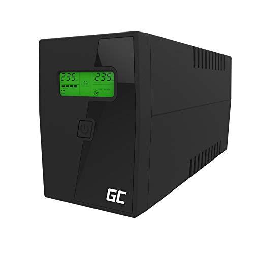 Green Cell® UPS USV Unterbrechungsfreie Stromversorgung 600VA (360W) mit Überspannungsschutz 230V Line-Interactive AVR Power Supply USB/RJ11 2X Schuko Ausgänge LCD Bildschirm
