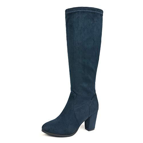 DREAM PAIRS Women's Midleg Dark Blue Chunky Heel Knee High Boots Size 8 M US