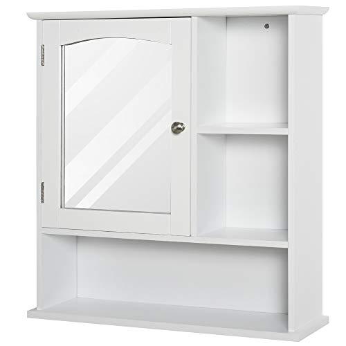 kleankin HOMCOM Spiegelschrank Badschrank Hängeschrank Badmöbel Wandschrank Mehrzweckschrank, Spanplatte+MDF, Weiß, 60 x 18 x 63 cm