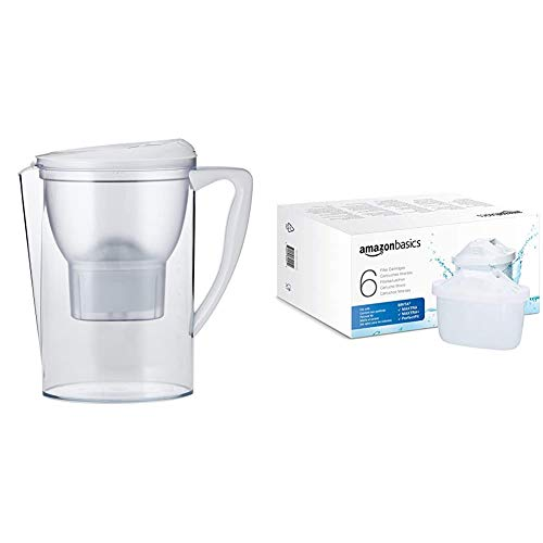 Amazon Basics Wasserfilter 2,3 Liter - Weiß + 6 Stück Wasserfilter kartuschen (Brita Maxtra+ Compatible)