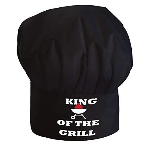 Personalisierte Kochmütze Für Frauen und Männer Kochhaube mit Klettverschluss Ideal für BBQ Restaurant Kochen zum GrillenKönig des Grills [108]
