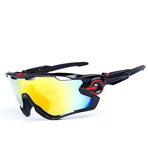 ERWEI Gafas de Sol Deportivas, Gafas de Sol Deportivas de Ciclismo polarizado para Hombres Mujeres con 5 lenos Intercambiables para Correr la conducción de Golf de béisbol,L