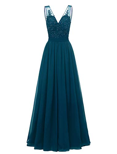 Changuan Chiffon Bridesmaid Dress Lace Wedding Maxi Evening Party Dresses Long Plus Size Mother of The Bride Dresses Size 22 Teal