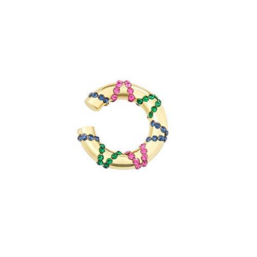 LLD Pendientes de Clip de Cristal étnico para Mujer Bohemia Rhinestone Ear Cuff Pendientes de Clip de Escalador de Oreja Regalo de joyería de Moda, Colorido