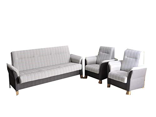 mb-moebel Polstergarnitur Sofa Set 3er Couch & 1er Wohnlandschaft 3-Sitzer und Zwei Sessel Möbel Set - Anna II (Grau)