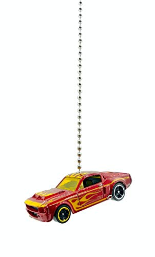 Ford Mustang Shelby Diecast Car Ceiling Light Fan Pull Ornament 1:64 (1967 Ford Shelby Mustang GT-500 Red Flamed)