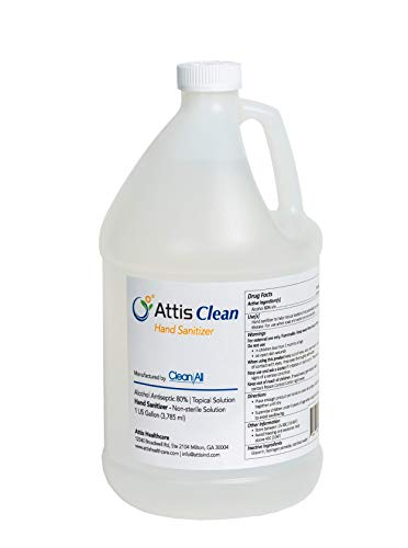 Attis Clean Premium Liquid Hand Sanitizer | 1 Gallon | 80% Alcohol | Made in The US | Non-Toxic | Refill to Kill The Germs, Clear, 128 Fl Oz (Pack of 1)