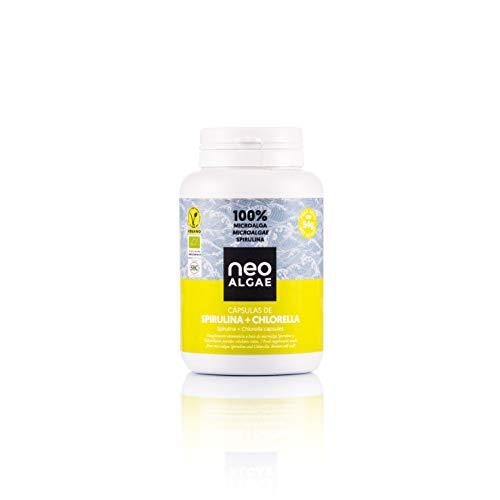 Capsules de Spiruline et Chlorella | Production 100% Naturelle | Spiruline et Chlorella Biologique | Pris Ensemble Puissant Effet de Désintoxication | 350 mg par Capsule | Neoalgae