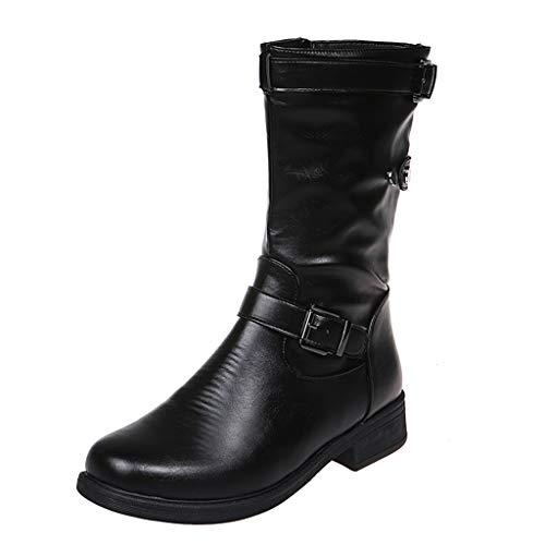 UMore Botines de Caña Media para Mujer Moda Botas Altas Invierno Mujer, Zapatos Mujer Cuña Planos Sintética...