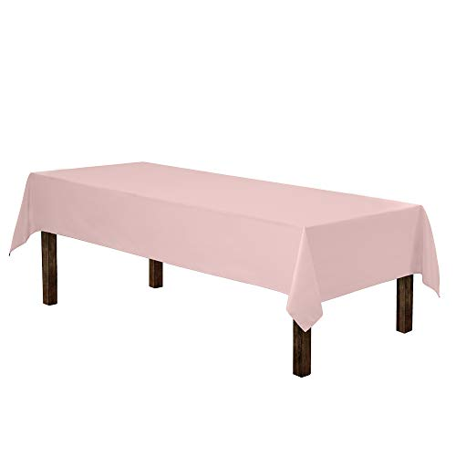 "Gee Di Moda Rectangle Tablecloth - 60 x 126"" Inch - Pink Rectangular Table Cloth for 8 Foot Table in Washable Polyester - Great for Buffet Table, Parties, Holiday Dinner, Wedding & More"
