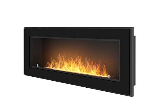 Bioethanol-Kamin für den Einbau an der Wand mit Schutzglas im Lieferumfang enthalten Gestell schwarz halbmatt aus Edelstahl (120cm)