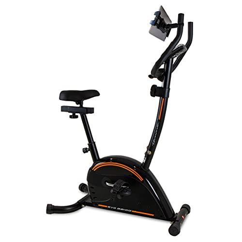 Tecnovita Bicicleta Estática EVO B2100H YH2100H Bicicleta estatica para iniciación. 8 Kg. 8 Niveles manuales. para usuarios de Talla Media. Con soporte para smartphone/tablet
