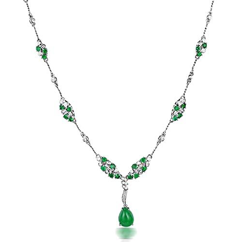 KnSam Collar para mujer, collar de oro auténtico para mujer, oro blanco de 18 quilates, con esmeralda de 2 ct y diamante blanco