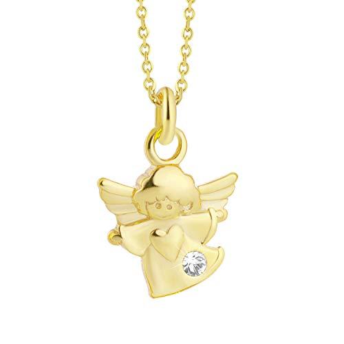fish Mädchen Hals-Goldkette 333 333er Gold Anhänger Schutz-Engel mit Swarovski Elements Klar Längen-verstellbar Schmucketui Geburt Geschenk