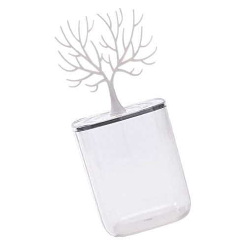 Cabilock Caja de almacenamiento de algodón con tapa de árbol, decoración para joyas, impermeable, soporte para almohadillas de algodón (blanco)