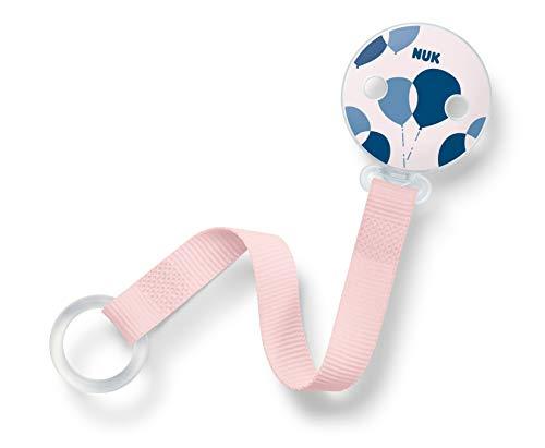 NUK Schnullerkette, für alle Schnuller mit und ohne Ring, 1 Stück, ballon/rosa (Mädchen)