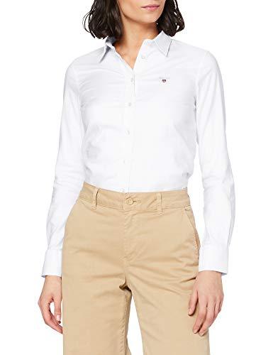GANT Damen Stretch Oxford-Solid Shirt Slim Fit Bluse, Weiß (White 110), 36