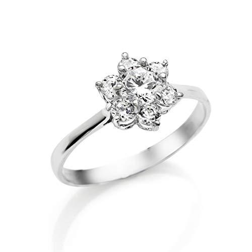 Bossoro Gioielli- Anillo para mujer de plata 925/1000 sterling, anillo flor con circonita cubica brillante