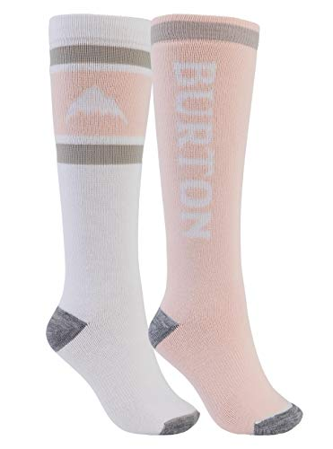 Burton Damen Weekend Midweight Snowboard Socken, Stout White/Peach Melba, ML