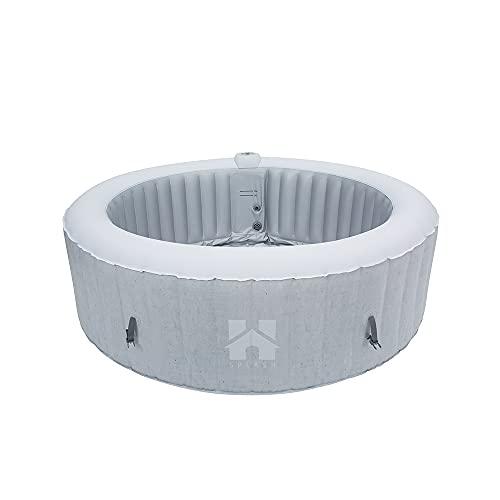 Home Deluxe - Outdoor Whirlpool aufblasbar Splash - Betonoptik - ⌀ 208 cm, Höhe 65 cm, 130 Luftdüsen - inkl. Abdeckung, Reparaturset, Filterset | Jacuzzi, Außen Whirlpool Wellness Spa