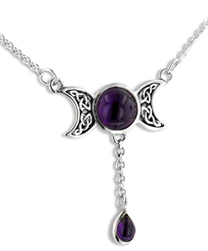 Sterling Silver Celtic Knot Triple Moon Phases Amethyst 17' Necklace