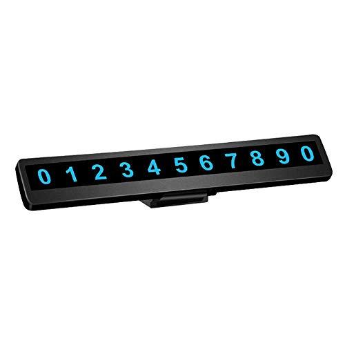 ALLOMN Auto Parkplatz Nummernschild, Telefonnummer Auto Parkplatz, Versteckte Universal Auto Zubehör Mobile Card Auto Interior (Leuchtend/Nicht Leuchtend) (Schwarz, Leuchtend)