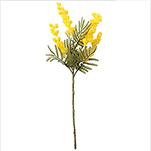 Qussion 38cm Fake Acacia Artificial Flowers Yellow Mimosa Spray Cherry Fruit Branch Wedding Home Table Decoration Flower 5 Pcs