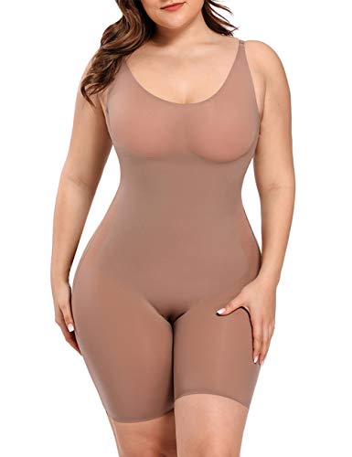 Lover-Beauty Thigh Slimmer Seamless Body Shaper for Women Full Body Shapewear Tummy Control Bodysuit Beige XXL