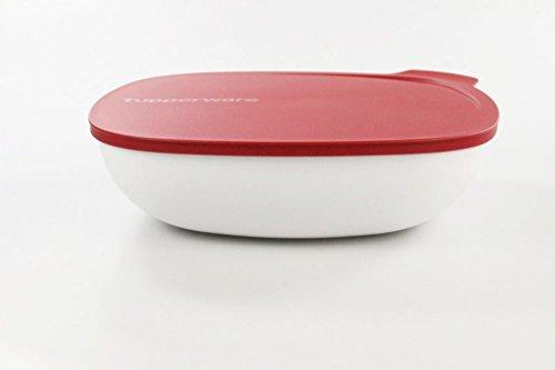 TUPPERWARE Allegra 2,5 L rot weiß Schüssel Schale servieren Servierschale eckig
