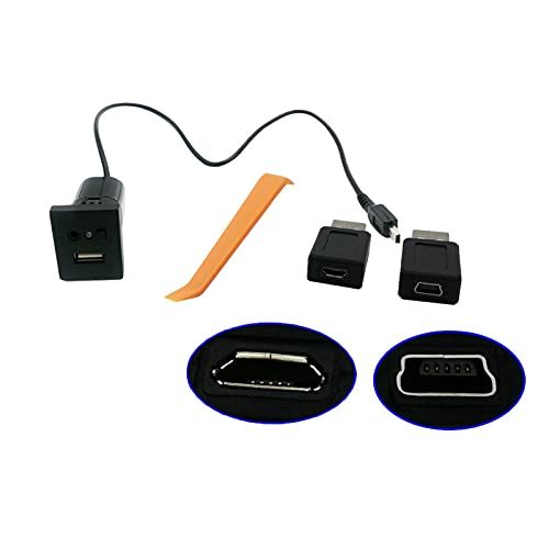 YANGPING HONGHUAER Negro USB Adaptador Auxiliar Ingrese Mini Cable USB Interruptor de botón de Interfaz de tragamonedas FIT FOR Ford Focus 2 MK2 2009 2010 2011 (Color : Black)
