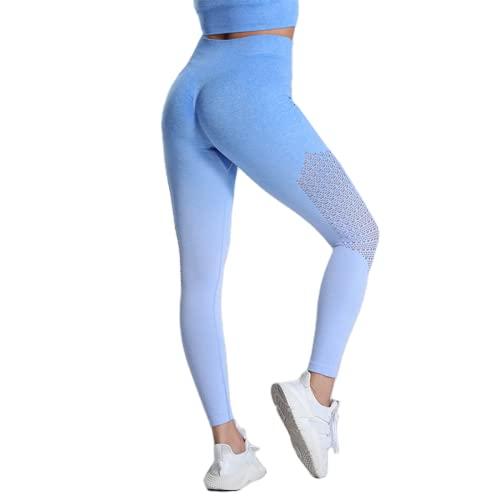 QTJY Pantalones sin Costuras de Yoga para Gimnasio para Mujer, Medias elásticas de Cintura Alta a la Cadera, Pantalones Deportivos para Celulitis, Entrenamiento físico, B L