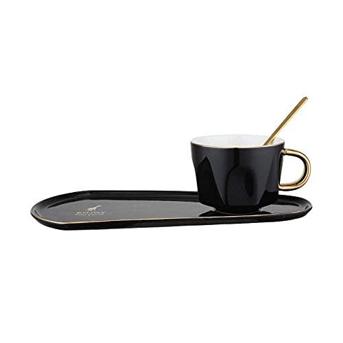 XYJ Tazas de café Color de cerámica Copa de glaseado y platillo con cuchara Copa de agua para el hogar Taza de té Taza de té Snack Snack Cafetería Taza de café Restaurante Hotel Cafe Latte Cappuccino