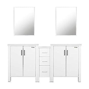 eclife 60  White Bathroom Vanity W/White Side Cabinet Combo Modern Pedestal Cabinet Set Pedestal Stand Wood with Bathroom Vanity Mirror Soft Closing Cabinet Doors Set  2B04W B11W